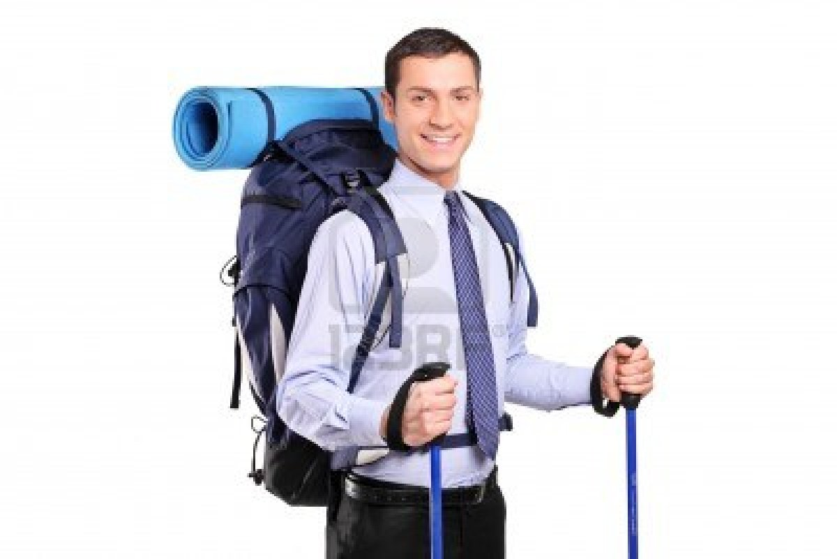 9269081-portrait-of-a-businessman-in-a-suit-with-backpack-and-hiking-poles-isolated-on-white-background