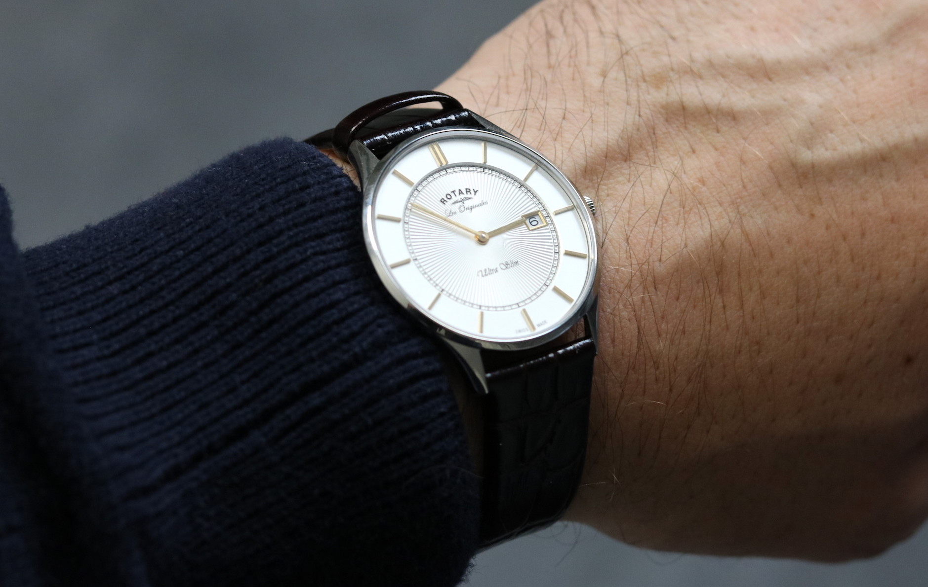 rotary ultra slim men s watch review the mitchelli modern the strap in genuine brown leather is soft enough to be very comfortable but is very thin and combined the small and 36mm case makes the watch look
